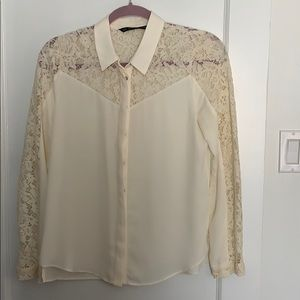 Zara off white lace button up blouse